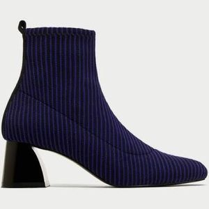 Zara SOCK STYLE HIGH HEEL ANKLE BOOT